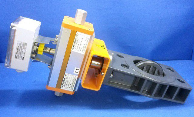 ACTUATED BUTTERFLY VALVE,Lot of 2 GEORG FISCHER / GF-036-PVC-FPM- PA-50 (20025)